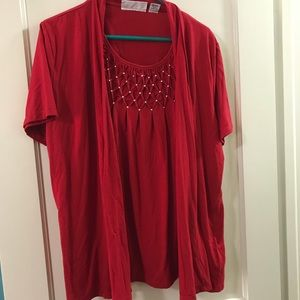 Large Red Top with embellishment
